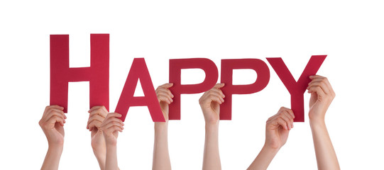 Many People Hands Holding Red Straight Word Happy