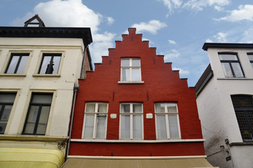 An old traditional Belgian house in Brugge. Belgium.