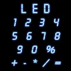Led numbers blue