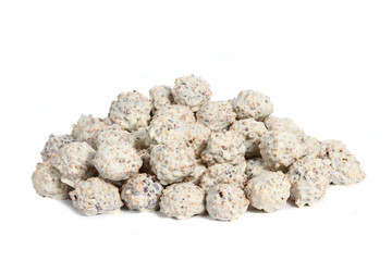 White truffles hand made by chocolatier on white background