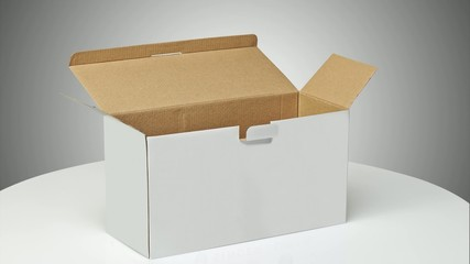 Timelapse of a Real Cardboard box opened ready for packaging