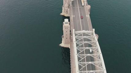 Aerial View Metal Bridge over River, Sankt-Petersburg