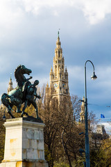 Vienna City Hall and Horse statue, Austria