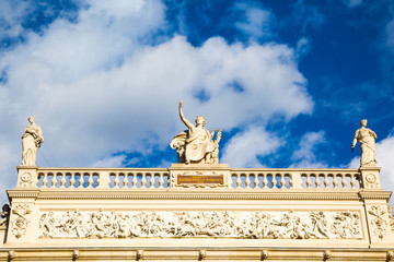 Sky background with Statues at Burgtheater, Vienna