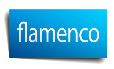flamenco blue paper sign on white background