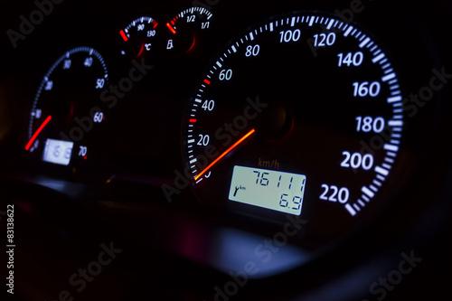 Poster car dashboard at night