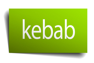 kebab green paper sign isolated on white