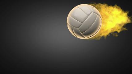 burning volleyball ball. Alpha matted
