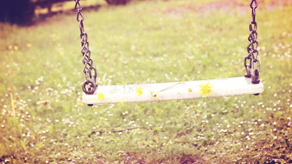 Empty swing  moving with flowers in the spring season