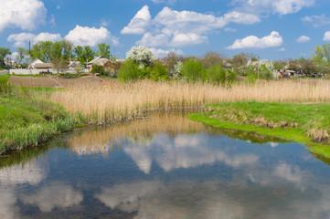 Spring landscape with small river Kagamlik, Ukraine