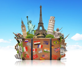illustration of a suitcase full of famous monument