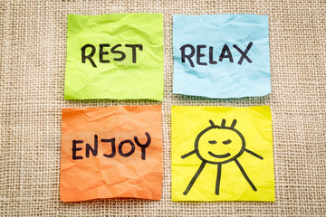 rest, relax and enjoy on sticky notes