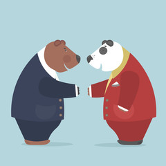 Important negotiations between representatives of two countries.