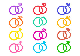 Colorful vector wedding rings icons