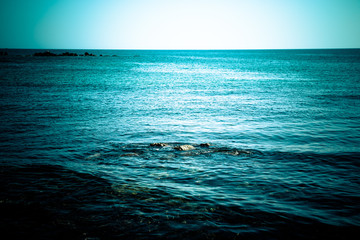 Endless blue sea. Beautiful nature. Toned
