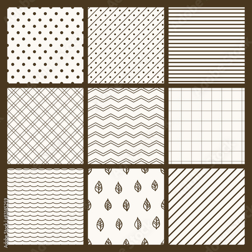 Staande foto Kunstmatig Set of 9 simple seamless monochrome patterns. Part 5.