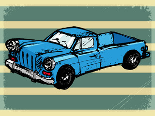 vintage background with retro car