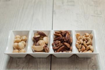 mix of nuts, para cashew brazil macadamian pecan