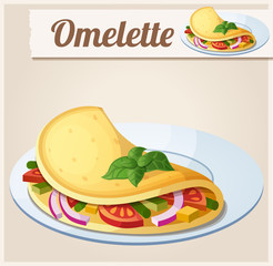 Omelette with vegetables. Detailed Vector Icon
