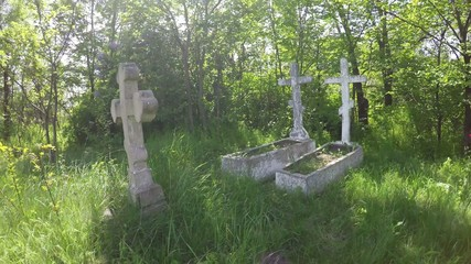 Old gravestones in the ancient cemetery