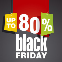 Black friday Sale up to 80 percent off red black background
