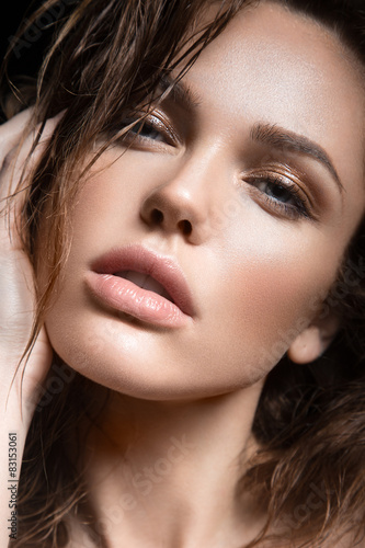 young girl with a light natural make-up Poster