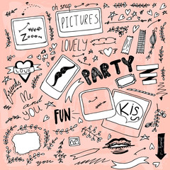 Set of hand drawn doodle photo party items