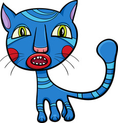 blue kitten or cat cartoon