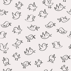 Seamless birds pattern background vector black on white backgrou