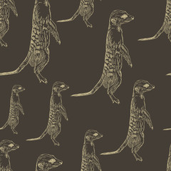 seamless pattern meerkat stands guard attention alarm light on a
