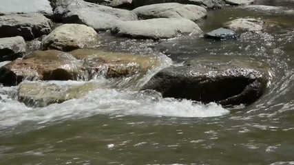 Water rushing around a rock in a stream