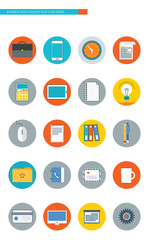 Business item flat line design icon set