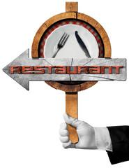 Restaurant - Arrow Sign with Hand of Waiter
