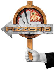 Pizzeria - Arrow Sign with Hand of Waiter