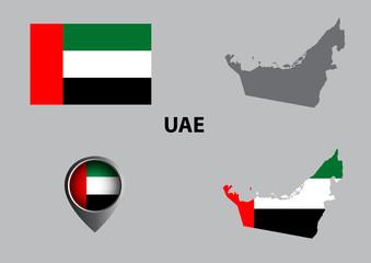 Map of United Arab Emirates and symbol