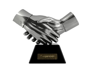 Cooperation trophy isolated on white background