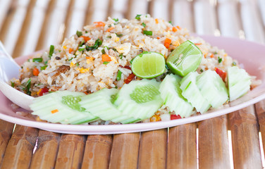 Fried rice crab for launch have bamboo background