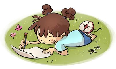 niña escribiendo en el campo