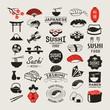 Sushi design elements, logos, label and icons