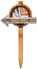 Pizzeria - Wooden Directional Sign