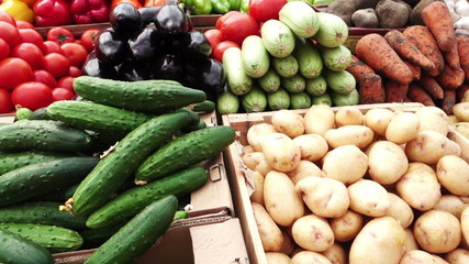 Assortment of fresh vegetables at a market