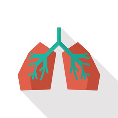 Lung flat icon with long shadow