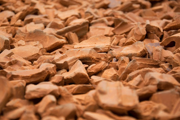 Conceptual image of red bricks pile