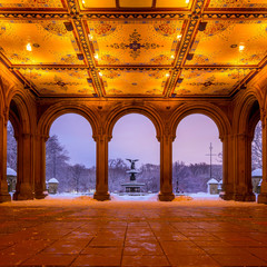 Bethesda Fountain in Central Park New York  after snow storm