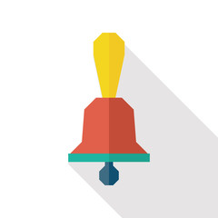 school bell flat icon with long shadow