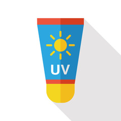 Sun Cream flat icon with long shadow