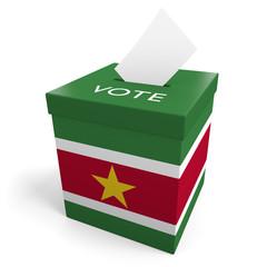 Suriname election ballot box for collecting votes