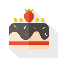Cake flat icon with long shadow