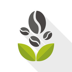 coffee bean flat icon with long shadow