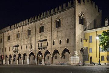 Mantua, Italy, night of historic building